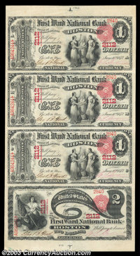 Boston, MA - $1-$1-$1-$2 1875 Fr. 384/391 The First Ward NB Ch. # 2112 Uncut Sheet An incredibly vivid uncut sheet, wit...