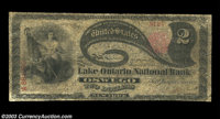 Oswego, NY - $2 Original Fr. 387 The Lake Ontario NB Ch. # 1355 A rare Oswego bank that issued First Charters only befo...
