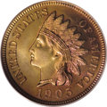 Proof Indian Cents: , 1905 1C PR66 Red PCGS. Cherry-red dominates the right obverse border, and also adorns the upper reverse margin. This well s...
