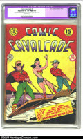 """Golden Age (1938-1955):Superhero, Comic Cavalcade #3 (DC, 1943) CGC Apparent GD+ 2.5 Slight (A) Off-white pages. CGC notes: """"Restoration includes: moderate am..."""