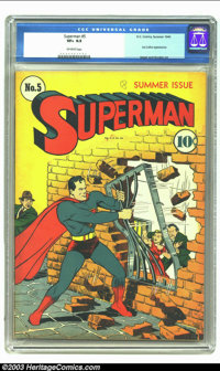 Superman #5 (DC, 1940) CGC VF+ 8.5 Off-white pages. Lex Luthor appearance; Golden Age Siegel and Shuster Superman art. O...