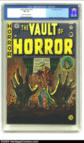 "Golden Age (1938-1955):Horror, Vault of Horror #15 (EC, 1950) CGC FN+ 6.5 Cream to off-whitepages. Nice early issue. ""Terror in the Swamp"" is same story w..."