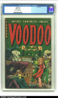"Golden Age (1938-1955):Horror, Voodoo #3 (Farrell, 1952) CGC GD/VG 3.0 Cream to off-white pages.CGC notes: ""3 center wraps detached."" Man stabbed in face...."