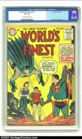 Golden Age (1938-1955):Superhero, World's Finest Comics #77 (DC, 1955) CGC VF- 7.5 Cream to off-white pages. Curt Swan Superman cover and art; Batman becomes ...