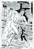 Original Comic Art:Splash Pages, Todd McFarlane and Tony DeZuniga - Original Splash Page Art forInfinity, Inc. (DC, 1985). Dr. Midnight shushes Hourman when...