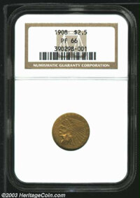 1908 $2 1/2 PR66 NGC. The coarse, matte finish of this coin was the undoing of most of its counterparts from the 236-pie...