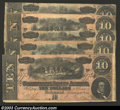 Confederate Notes:1864 Issues, A Group of Five 1864 $10 T68s, all grading Very Fine. Each ... (5 notes)