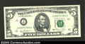 Error Notes:Skewed Reverse Printing, Fr. 1976-J $5 1981 Federal Reserve Note. Choice Crisp ...