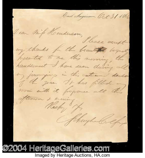 Schuyler Colfax Signed Handwritten Letter Autographs | Lot #13