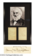 Autographs, Henry Wadsworth Longfellow Signed Letter