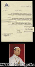 Autographs, Pope Paul VI Typed Letter Signed