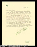 Autographs, Lowell Thomas Typed Letter Signed