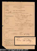 Autographs, Leo Tolstoy Scarce Signed Document