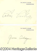 Autographs, Calvin & Grace Coolidge Signed White House Cards
