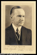 Autographs, Calvin Coolidge Harris & Ewing Signed Portrait