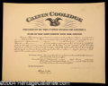 Autographs, Calvin Coolidge Signed Appointment
