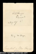 Autographs, Rutherford B. & Lucy Hayes Signature Set