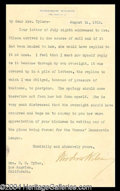Autographs, Woodrow Wilson Typed Letter Signed