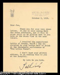 Autographs, Tallulah Bankhead Typed Letter Signed