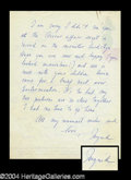 Autographs, Ingrid Bergman Signed Letter to Joan Crawford