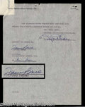 Autographs, Fanny Brice Great Signed Document