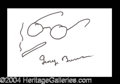 Autographs, George Burns Hand Signed Sketch