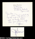 Autographs, John Huston Signed Note to Joan Crawford