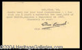 Autographs, Stan Laurel Signed Note Card