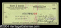 Autographs, Ray Manzarek The Doors Signed Check
