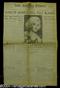 Autographs, Marilyn Monroe Original Death Newspaper from 1962