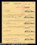 Autographs, Gregory Peck Signed Check Lot of 5
