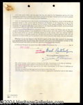 Autographs, Basil Rathbone Signed Document