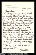 Autographs, Cesar Romero Handwritten Letter to Joan Crawford