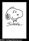 Autographs, Charles Schulz Signed Snoopy Sketch