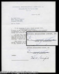 Autographs, Danny Thomas Signed Document