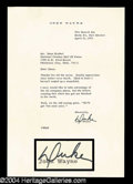 Autographs, John Wayne Typed Letter Signed Duke