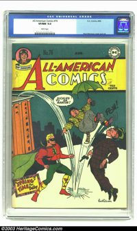 All-American Comics #76 (DC, 1946) CGC VF/NM 9.0 White pages. Paul Reinman cover and art. Overstreet 2002 NM 9.4 value =...