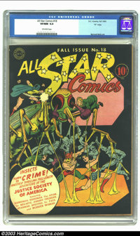 All Star Comics #18 (DC, 1943) CGC VF/NM 9.0 Off-white pages. One of the best covers in the run. Bernard Baily and Sheld...