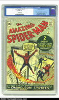 Silver Age (1956-1969):Superhero, Amazing Spider-Man #1 (Marvel, 1963) CGC GD/VG 3.0 Off-white pages. Economy copy of a very big book! First appearance of J. ...