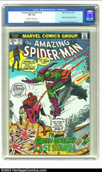 "Amazing Spider-Man #122 (Marvel, 1973) CGC VF+ 8.5 Off-white to white pages. ""Death"" of the Green Goblin; Gil..."