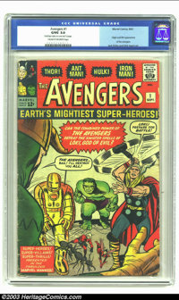 "The Avengers #1 (Marvel, 1963) CGC G/VG 3.0 Cream to off-white pages. CGC notes""Small tape stain on cover and first..."