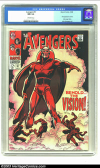 The Avengers #57 (Marvel, 1968) CGC NM 9.4 Off-white pages. First appearance of the Silver Age Vision; John Buscema art...
