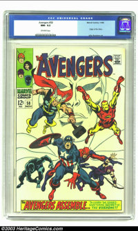 The Avengers #58 (Marvel, 1968) CGC NM- 9.2 Off-white pages. Origin of the Vision; John Buscema art. Overstreet 2002 NM...