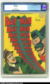 Batman #31 (DC, 1945) CGC VF 8.0 White pages. Sprang cover, Robinson art. Overstreet 2002 VF 8.0 value = $694