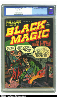Black Magic v1 #1 (Prize, 1950) CGC FN+ 6.5 Cream to off-white pages. Jack Kirby cover. Simon/Kirby, Meskin art. Overstr...