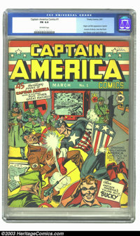 Captain America Comics #1 (Timely, 1941) Condition: FN+ 6.5 Cream to off-white pages. Featuring the origin and first app...