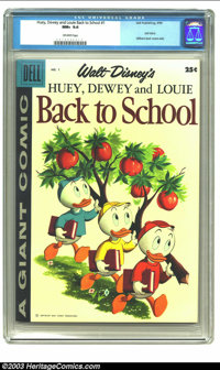Dell Giant Walt Disney's Huey, Dewey and Louie Back to School (Dell, 1961) CGC NM+ 9.6 Off-white pages. Dell Giant; diff...