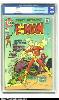 E-Man #1 (Charlton, 1973) CGC NM+ 9.6 White pages. Origin and first appearance of E-Man. Joe Staton cover and art. CGC h...