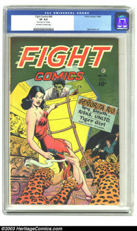 "Fight Comics #46 (Fiction House, 1946) CGC VF 8.0 Off-white to white pages. CGC notes: ""Name stamped on 1st page&qu..."