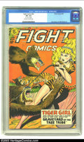 """Golden Age (1938-1955):Adventure, Fight Comics #62 (Fiction House, 1949) CGC VF+ 8.5 Off-white to white pages. CGC notes: """"1/2"""" tear on 3 pages"""". Jack Kamen a..."""